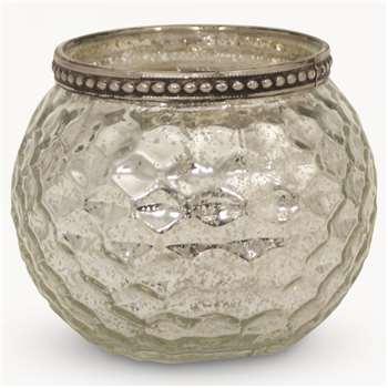 Capri Pumpkin Shaped T Light Holder W Diamond Pattern (10 X 10cm)