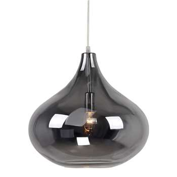 Ceiling lights home collection claire silver glass pendant light pale grey 130 x 35cm aloadofball Images
